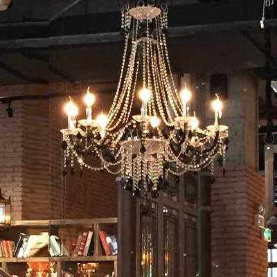 Led Free delivery Dia 100cm large Cafe Bar Black chandelier led Candle holder light dining room clear Crystal light lustres de cristal lamps