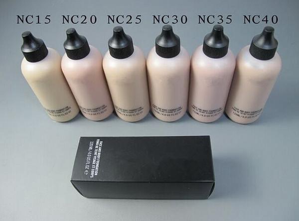 Frete Grátis Atacado Cosméticos Fundação Líquida Nova Maquiagem Rosto E Corpo Fundação Fond De Teint 120 ml 6 Cores pode escolher (6 pçs / lote)