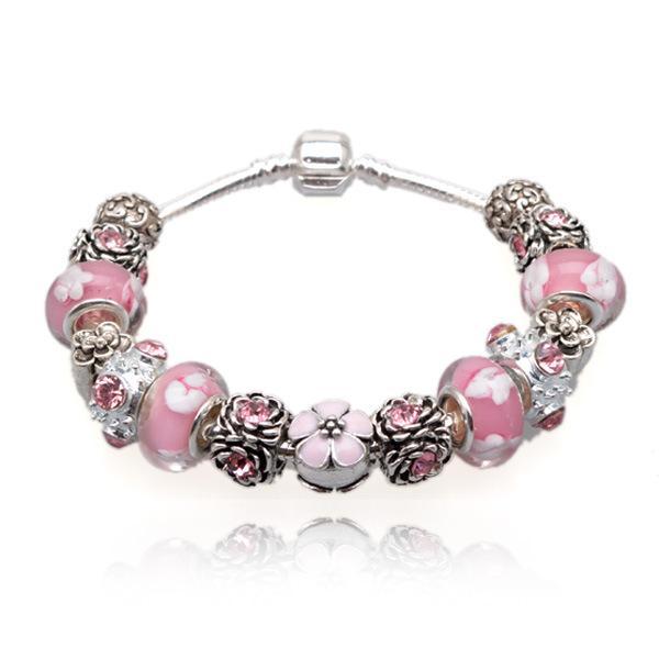 Elegant Charm Bracelets Pink Murano Glass Beads & Cubic Zirconia Silver Charms Snake Chain Bangle Bracelets for Women BL034