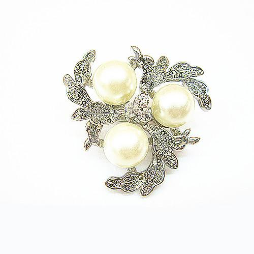 Free Shipping ! Top Jewelry Wholesale Silver Tone Alloy Rhinestone Crystal and Faux Cream Pearl Brooch Free shipping