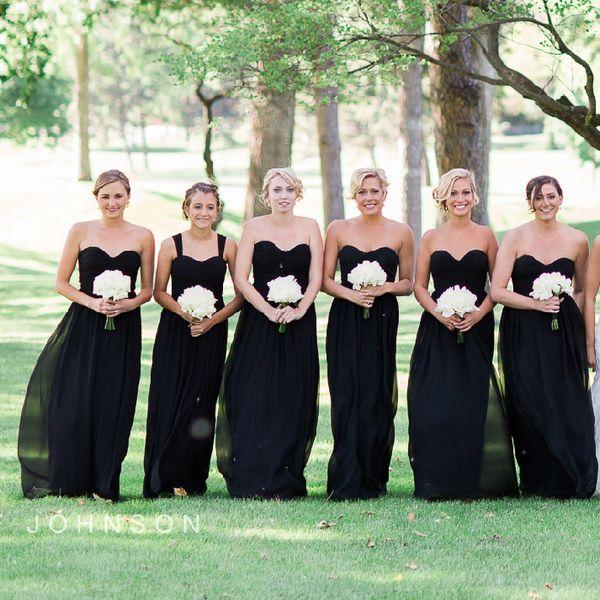 Convertible Dresses Black Bridesmaid Dresses Long Floor Detachable ...