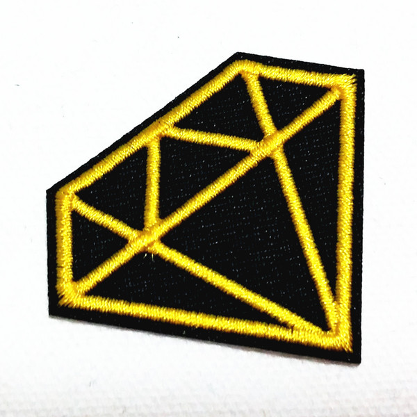 Wholesales~Cartoon Diamond Yellow Black (5 cm x 4 cm) Embroidered Applique Kids Patch Iron on Patch(ALB)