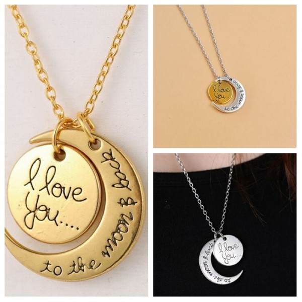 Hot ! 20pcs New I Love You To The Moon & Back Best Friend Friendship Alloy Pendant Necklace