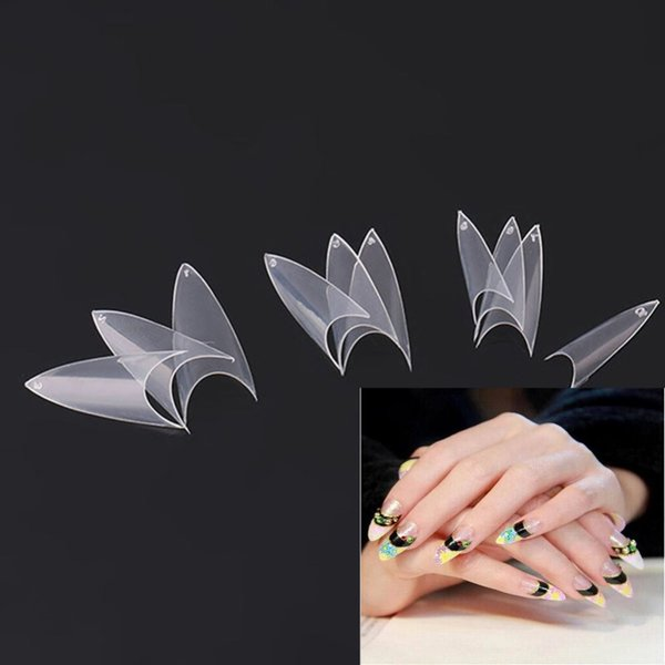 top popular Wholesale-500Pcs Stiletto Point Shape White Acrylic French False Fake Nails Tips UV Gel DIY Make your Nail beautiful Free Shipping 2019