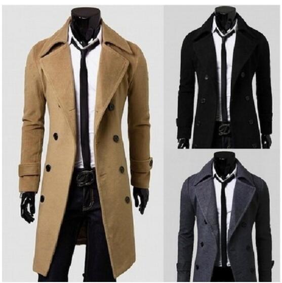 Yeni Marka Kış erkek uzun bezelye ceket erkek yün Ceket Turn down Yaka Kruvaze erkekler trençkot siyah kahverengi gri boyutu M-XXXXL