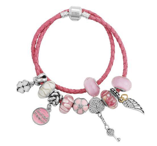 La nuova corda a mano in lega di perline rosa ali cuore di pesca Bracciale in pelle multistrato LB014 per popolare stile europeo Gepanduola