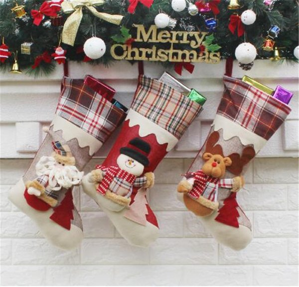 2017 newest christmas stocking mix burlap cotton christmas gift bag stocking 3 styles christmas tree decoration - Burlap Outdoor Christmas Decorations