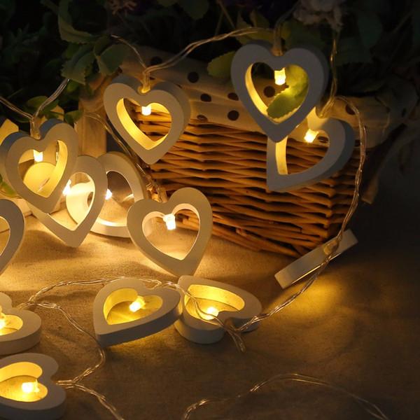 Al por mayor-HNGCHOIGE 10 LED de madera en forma de corazón cadena luces decorativas con pilas para la fiesta de San Valentín boda decoración de jardín