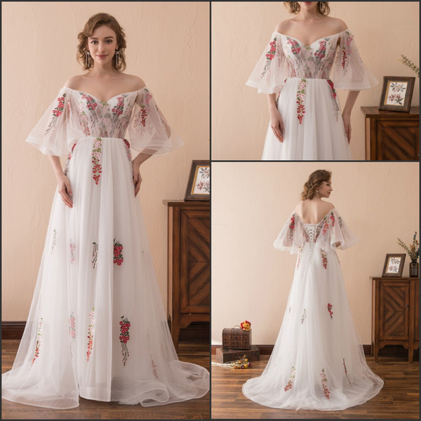 Stunning Floral Embroidery White Long Evening Dresses Gowns Stock 2-16 Off Shoulder Tulle A-Line Flower Party Dress Prom Formal Ball