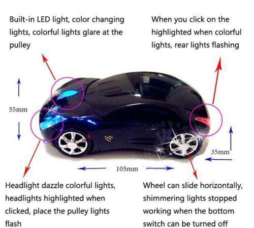 Großhandels-drahtloses Auto formte Mäusemäuse USB mit buntem Blitz für Schreibtischlaptop Schwarzes