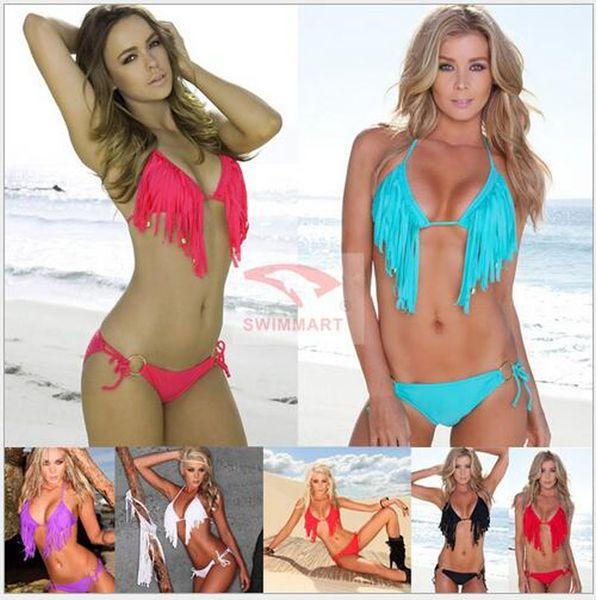 New Fashion Women Swimwear Tassel Hanging Neck Design Perfect Bikini Swimsuit--(White,Black,Red,Purple,Blue,Rosy Red) DM0051