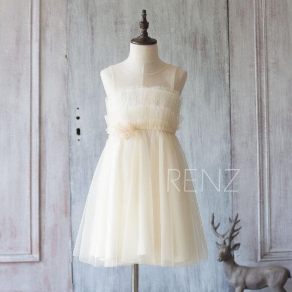 2018 Beige Junior Bridesmaid Dress, Light Beige Mesh Scoop Neck Flower Girl Dress, a line Ruffle Puffy dress knee length