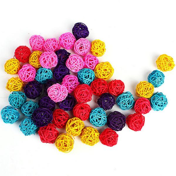 3 cm Mix couleur De Mariage Décoratif Rotin Balle De Noël Décor Maison Ornement diamètre Décoration de La Maison Nouvelle arrivée