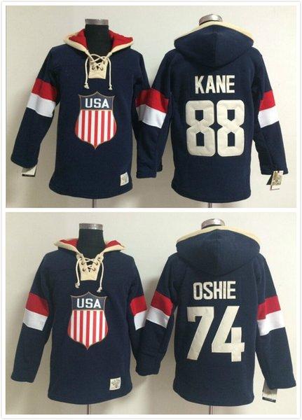 Factory Outlet, Patrick Kane Olympische Winterspiele Team USA T.J. Oshie Hockey Sawyer Lace Up Pullover mit Kapuze Sweatshirt heißer Verkauf
