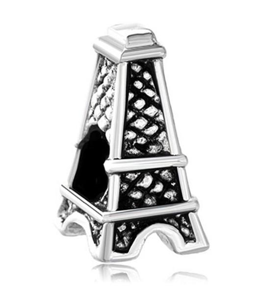 Bracciale Pandora con pendente a forma di portafortuna europeo, a forma di Torre Eiffel, con grande fascino