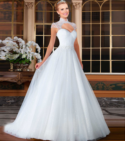 Top Sale High Neck Keyhole Front With Crystal White Organza A Line Wedding Dresses 2016