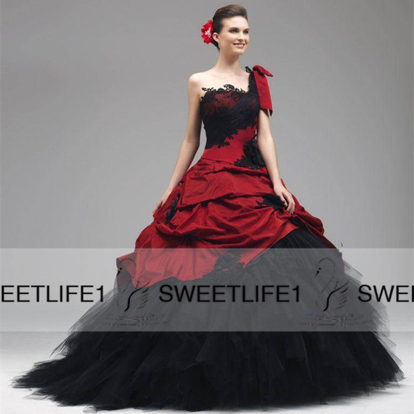 Black Red Ball Gown Gothic Wedding Dresses One Shoulder Strap Draped Skirt Sweep Train Bridal Gowns 2015 Garden Beach Ball Gown Dresses
