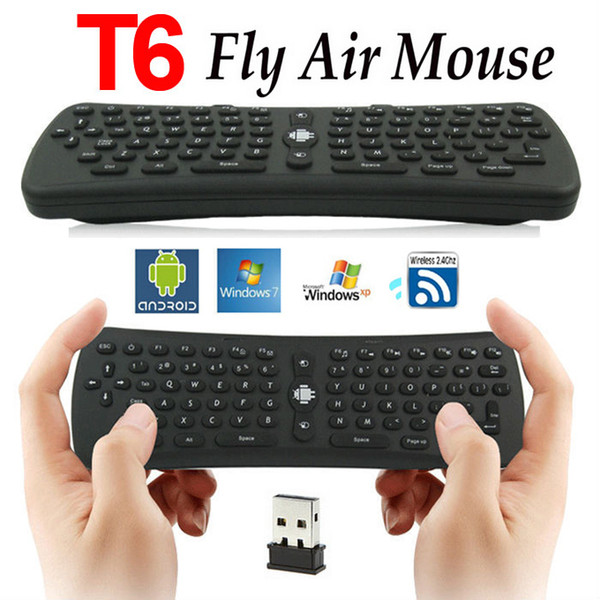 2.4GHz 6 Axis Gyroscope Fly Air Mouse Keyboard Wireless T6 Mini Keyboard Remote Control VS T3 MX3 I8 for M8 MXQ CS918 MXIII Android TV Box
