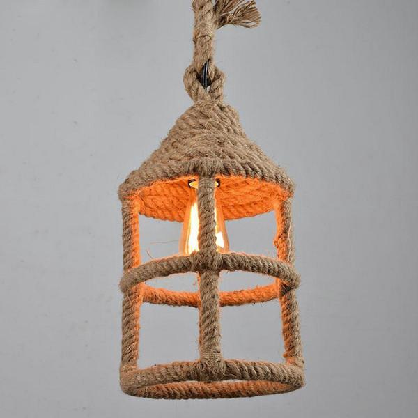 Rope Retro pendant lights Edison Lights fixtures lustre industriel iron Loft Antique DIY E27 Art Ceiling Lamp