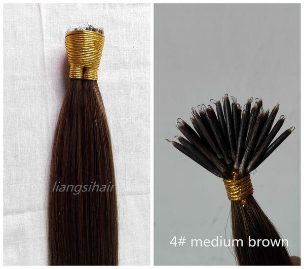 "Straight Style Brazilian Indian Peruvian Malaysian Nano-tip Remy Human Hair Extensions 20""-24"" 100g 100s 1g/s 4# Medium Brown"