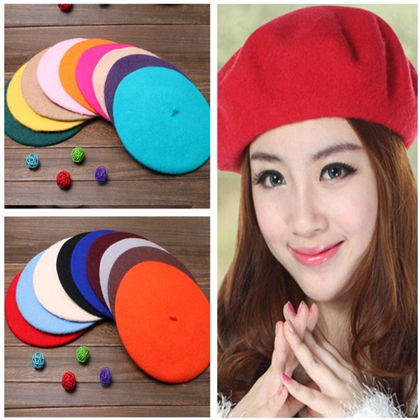 9270db2082381 Wholesale-13 Colors Solid Color Warm Wool Winter Girl Beret French Artist  Beanie Hat Ski Cap