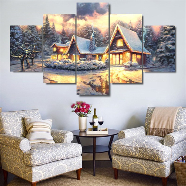 Thomas Kinkade Christmas Cottage,5 Pieces Home Decor HD Printed Modern Art Painting on Canvas (Unframed/Framed)