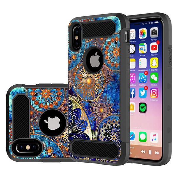 Pour Iphone Xs Cas de Téléphone Cas 3D Peinture De Silicone En Fiber De Carbone Doux TPU Antichoc Couverture Arrière Cas pour Iphone x 8 8plus