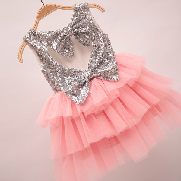 2016 Spring Summer Girls Dress Pretty Sequin Big Bowknot Dress Girl Baby Clothes Dress Tops 5pcs/lot Pink K6721