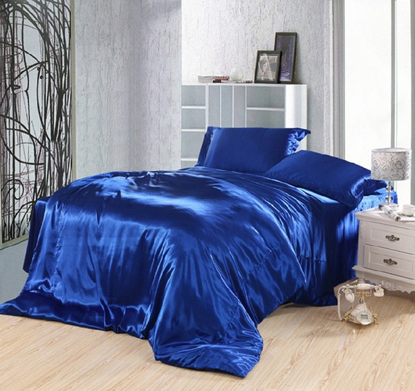 Royal blue bedding set silk fitted bed sheets satin super king size queen quilt duvet cover double bedspreads doona 4pcs 6pcs