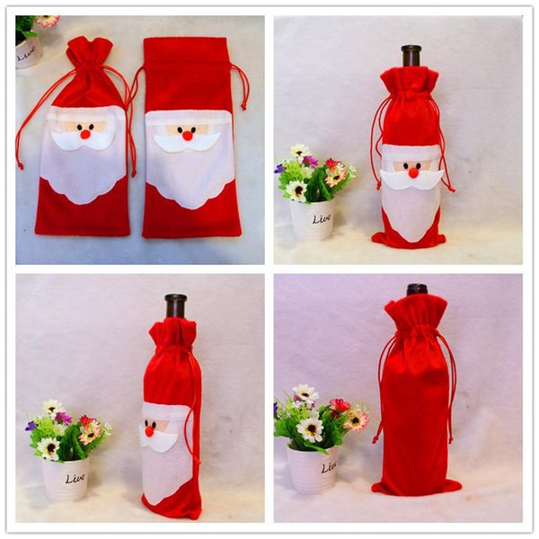 100pcs Cheap Christmas Red Wine Bottle Cover Bags Package Bag Dinner Table Decoration Home Party Decors Santa Claus Christmas bag Supplier