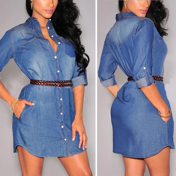 Toptan-Sonbahar 2016 Moda Denim Elbiseler Bayanlar Kadınlar Casual Uzun Kollu Tek Göğüslü Kot Elbise Gömlek Artı Boyutu S-XL Vestidos