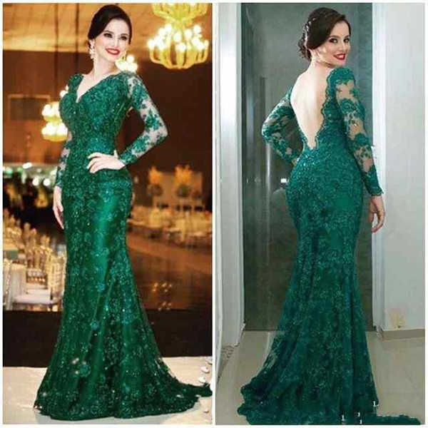Mother of the Bride Dresses for Wedding Guest Gowns Long Sleeve Green Lace V Neck Sexy Backless 2018 Women Evening Dresses Formal Wears