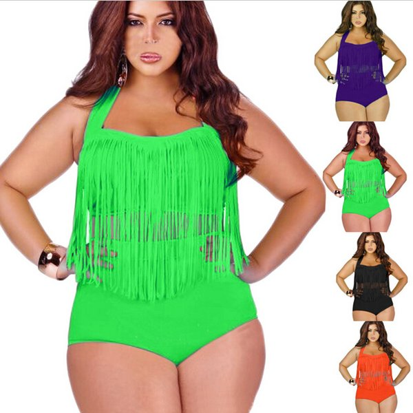 Retail Plus Size Swimwear For Women Fringe Tassels Bikini High Waist Swimsuit Sexy Women Bathing Suit Padded Boho Swimsuit 11 Colors