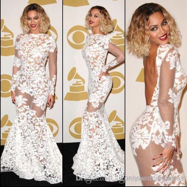 Beyonce Grammy Awards Encaje Sheer Celebrity Dresses 2017 de manga larga sin espalda sirena vestidos de noche vestidos de mujer vestidos de baile vestidos de baile BO6050