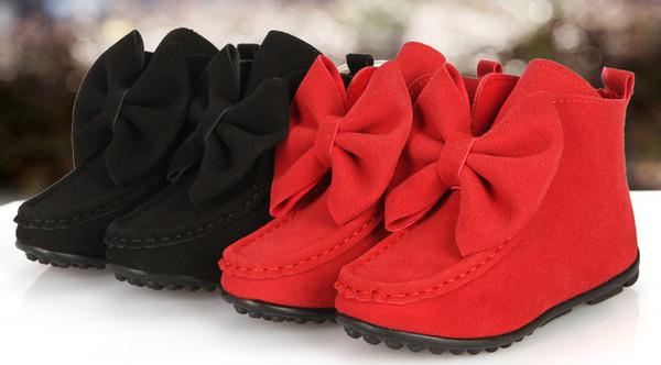 Moda nuevos niños botas chicas Arcos botas de cuero niños zapatos cortos niños botas de Navidad rojo negro rosa vino rojo A7149