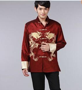 Frete grátis novo preto borgonha verde chinês dos homens Dragon Kung FU jaqueta / casaco