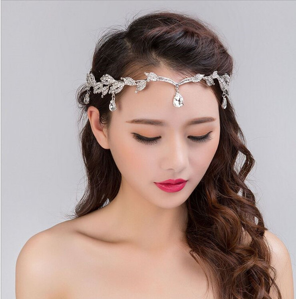 2016 lujo nupcial tiara pelo corona frente cristal accesorios de boda para el cabello bohemain nupcial tocados en stock