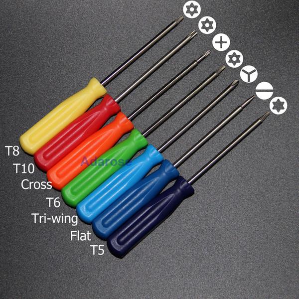 7 pezzi / set Torx T5 T6 T8 T10 croce Tri-wing a forma piatta cacciavite strumento di riparazione del telefono cellulare strumento Xbox 360