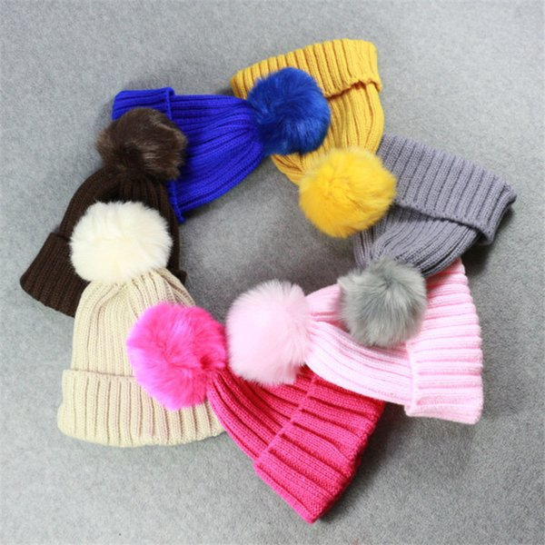 1-6 ages Baby Knitted Pom Poms Hat Solid Warm Cute Winter Hats Beanies for Kids Children Unisex Headwear Hat Skullies 10 Colors