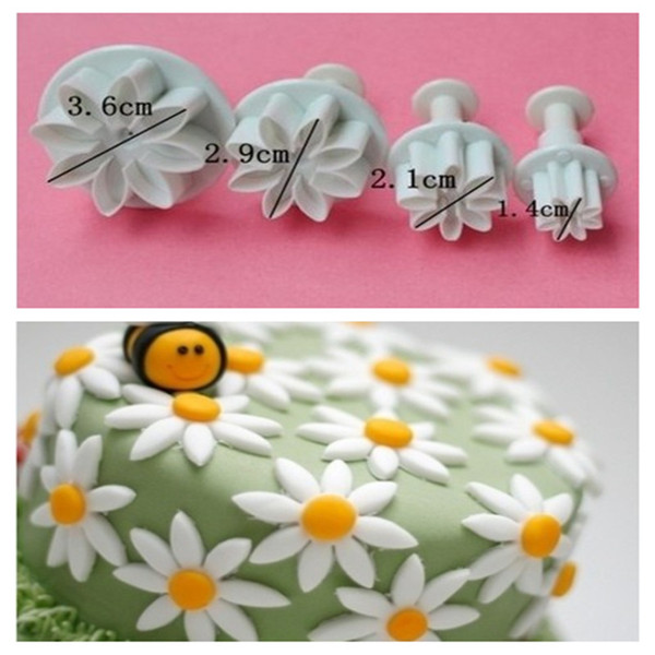 DIY fondant cake decoration tools Mold 4 Pcs/set Cute Daisy Shape Plunger Cake Chocolate Sugar Mini Cutter TY1690