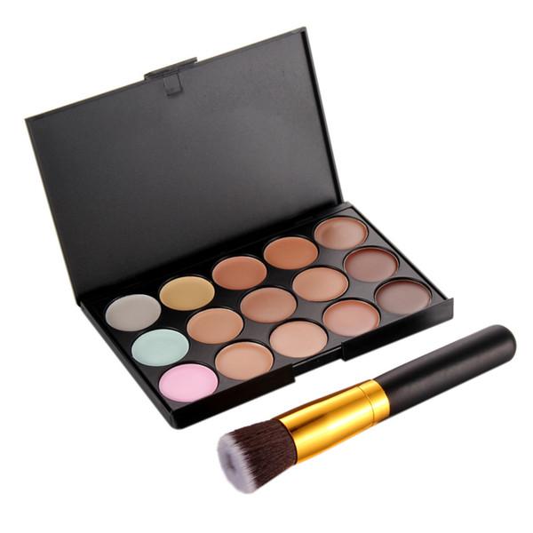 hot sale 15 Colors Contour Face Cream Makeup Palette +Foundation Liquid Brush