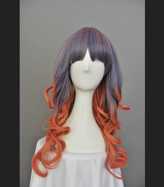 Blue gold mixed colors red curly wig long section Anime Cosplay wig cos wig wig wholesale