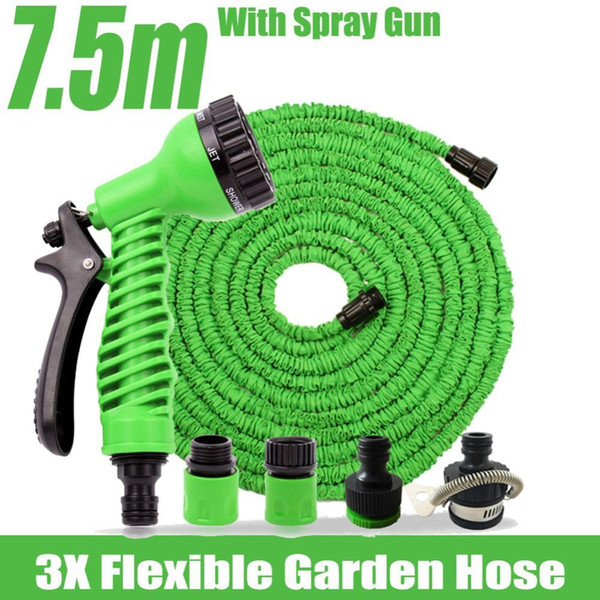 top popular 7.5m Flexible Garden Water Hose Magic+Spray Gun Wash Pipe Rubber Retractable Reals Watering Expandable Hoses Mangueira Jardim 2021