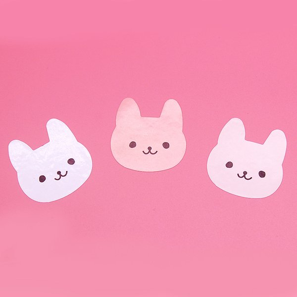 120 pcs Cute 3 colors Rabbit Gift Kraft Sticker Cookie Cake Gift Labels Stickers Kitchen Sweets Party Seal Sticker