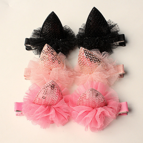 2017 New 10pairs/lot Glitter Felt Hair Clips Girls Pink Cat Ear Hairpins Girls Shinning Seqins Kids Gauze Hair Clip Hair Grip Cartoon