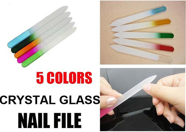 best selling Fashion Colorful Crystal Glass File Buffer Nail Art Buffer Files For Manicure UV Polish Tool