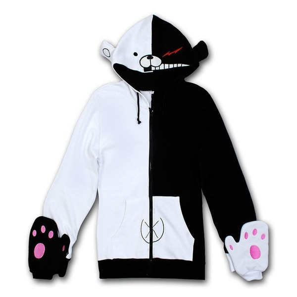 top popular Dangan Ronpa Monobear Monokuma Black&White Bear Cosplay Costume Hoodie Jacket 2020