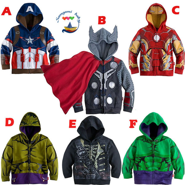 top popular Free DHL Children Hoodies New Baby Boys Captain America Hoodies Jacket Avengers Hulk thor iron man Superhero cosplay Kids hoodie jacket C001 2019