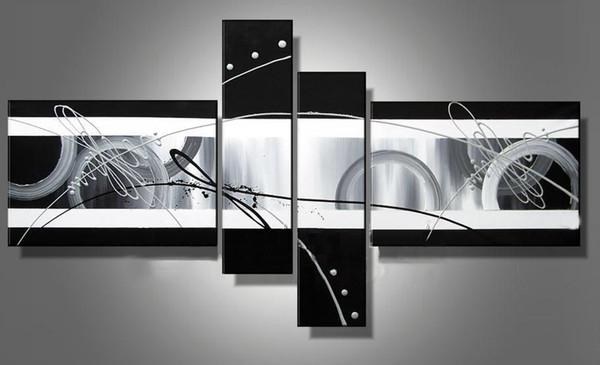 Modern decoration handmade oil painting canvas Black White Grey home office wall art decor,CX227
