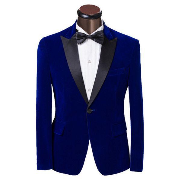 Velvet Men Suit Jacket Dark Blue Peak Lapel Men Suit Wedding Prom Mens Suits Slim Groom Tuxedos Fashion Wedding Suits For Men (Jacket+Pants)
